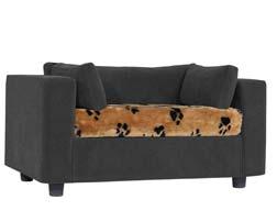 Grey pet sofa with Bear Plaid