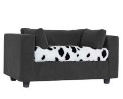 Grey pet sofa with Dalmatian Plaid