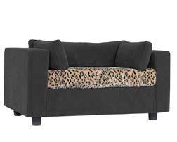 Grey pet sofa with Panther Plaid