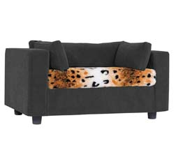 Grey pet sofa with Dalmatian Puma
