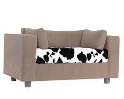 Taupe pet sofa with Norman Plaid