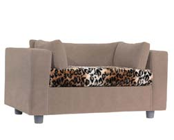 Taupe pet sofa with Tiger Plaid