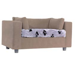 Taupe pet sofa with Wolf Plaid
