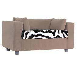 taupe pet sofa with Zebra Plaid