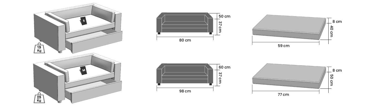 dimensions Giusypop pet sofa